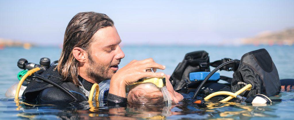Scuba diver doing a rescue procedure